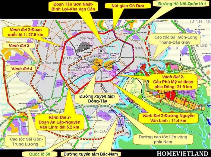Bản đồ đường Vành Đai 3 TP HCM