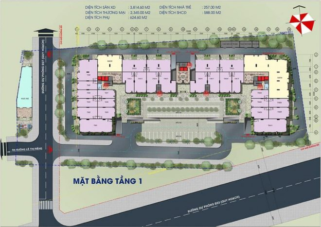 Thiết kế tầng 1 Dự án Căn hộ Green Mark Quận 12