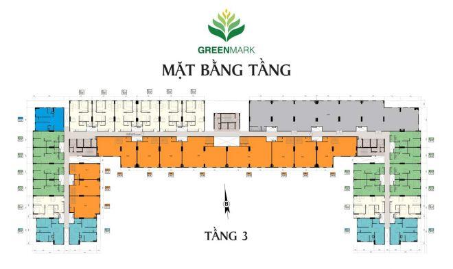 Mặt bằng tầng căn hộ Green Mark Quận 12 - Tầng 3