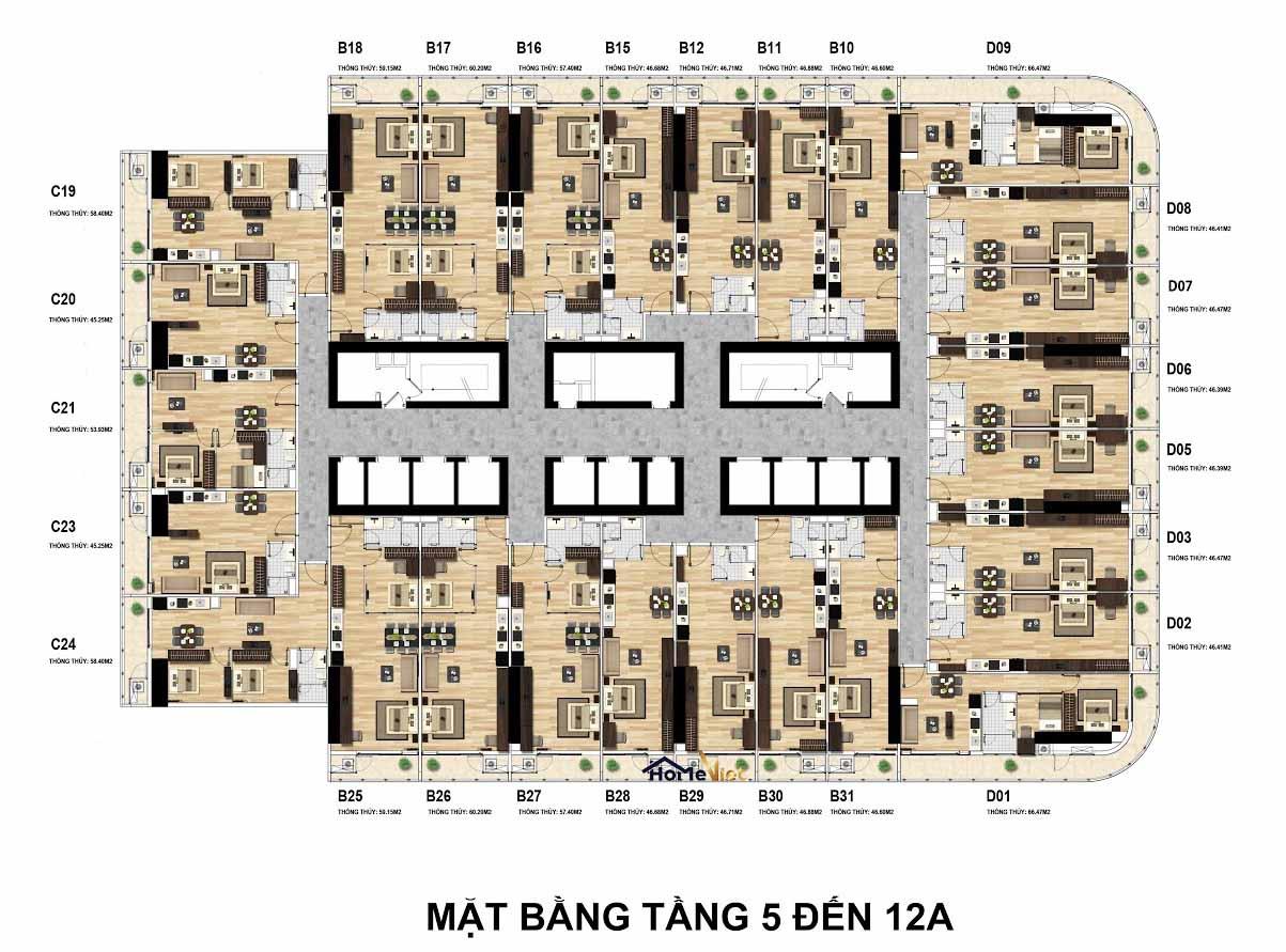 Mặt bằng TMS Quy Nhơn tầng 5-12A