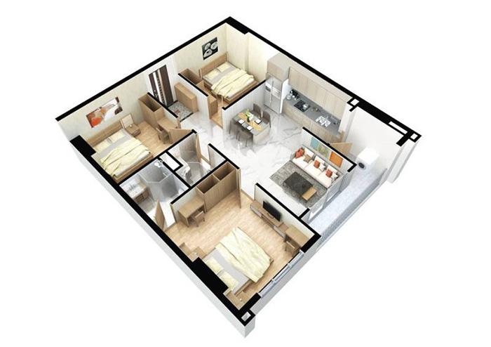Căn hộ 3 PN được thiết kế tối ưu diện tích