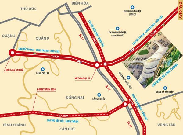 Vị trí sân bay QT Long Thành