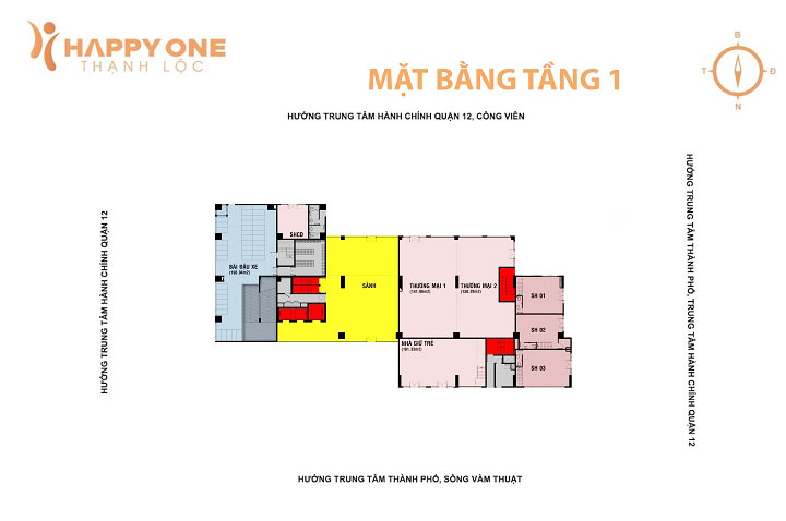 Mặt bằng Tầng 1 Happy One